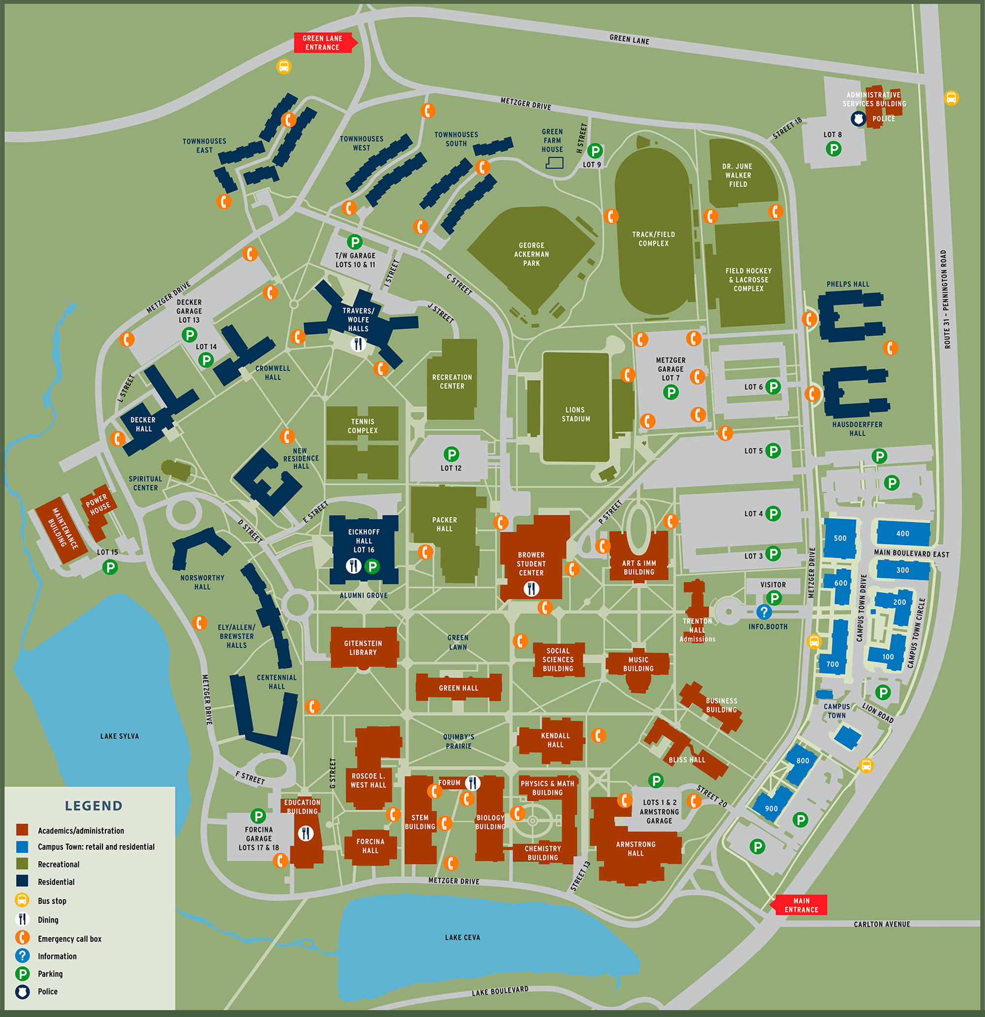 College Of New Jersey Campus Map.Campus Map The College Of New Jersey